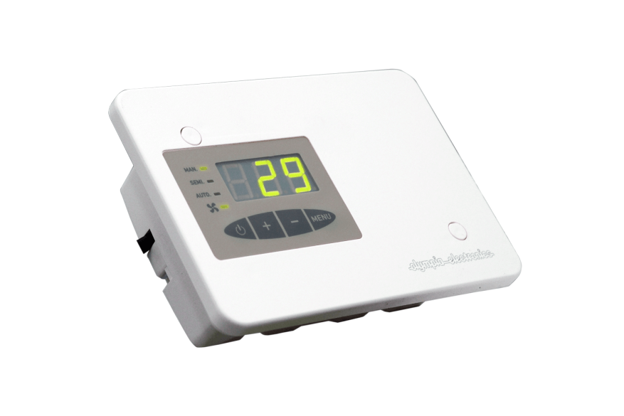 Programmable energy fireplace thermostats with speed adjustment.