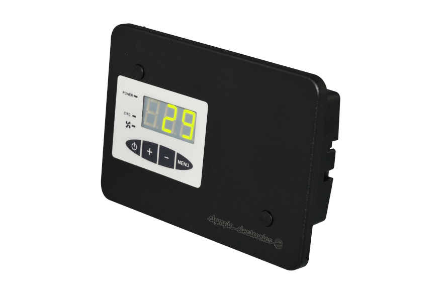 Programmable wood burner thermostat with speed adjustment and two sensors capability