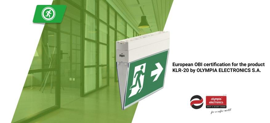 European HELLENIC INDUSTRIAL PROPERTY ORGANISATION certification for the product KLR-20 by OLYMPIA ELECTRONICS S.A.