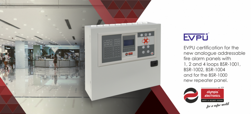 EVPU certification for OLYMPIA ELECTRONICS S.A. fire detection panels